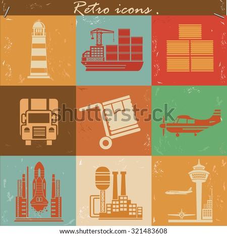 Cargo and shipping concept icons,retro style,grunge vector - stock vector