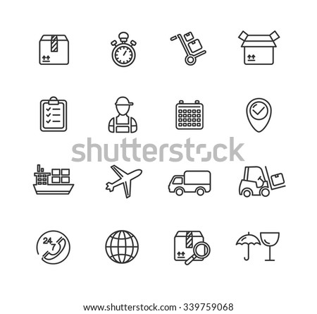 Cargo and Shipping Outline Icons Set. Vector illustration