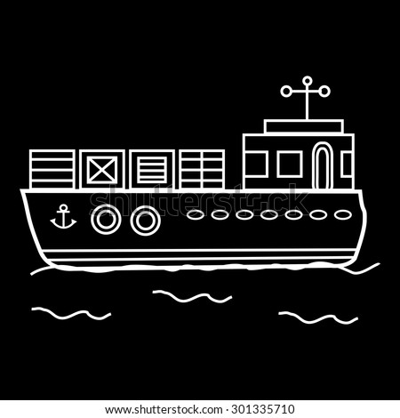 Cargo barge ship with containers. Water transport - stock vector