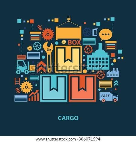 Cargo concept design on dark background,clean vector - stock vector