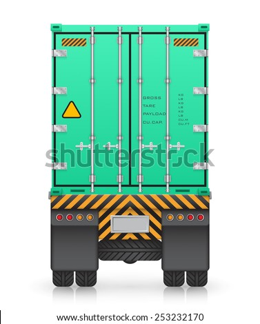 Cargo container on truck, isolated on white background. - stock vector
