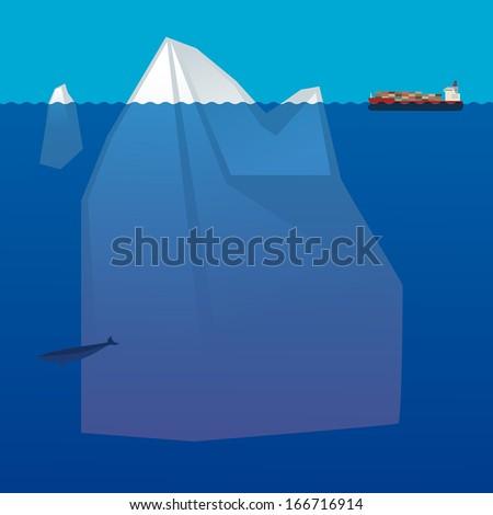 Cargo Container Ship in arctic ocean, vector illustration - stock vector