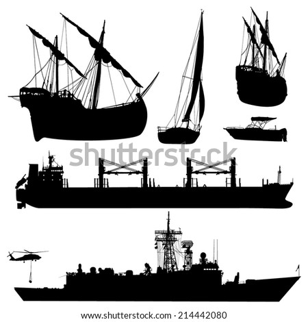 Cargo, military and old sail boat silhouettes - stock vector