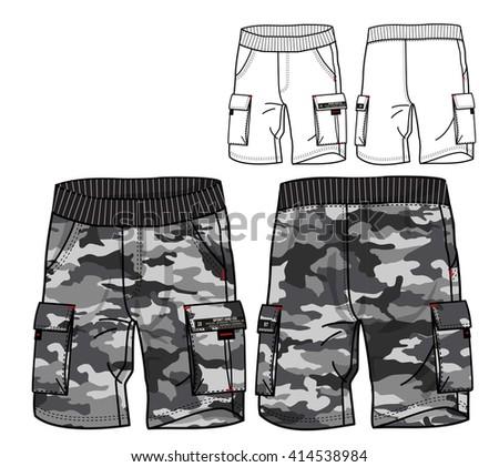 Cargo Pants Vector Template(Camo print) - stock vector