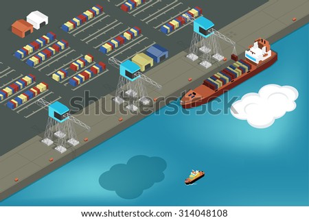 Cargo port. Commercial ship loading containers. Ship industry, container and transportation, export and logistic, vector illustration - stock vector