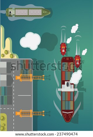 Cargo ship going to port. Vector illustration. - stock vector
