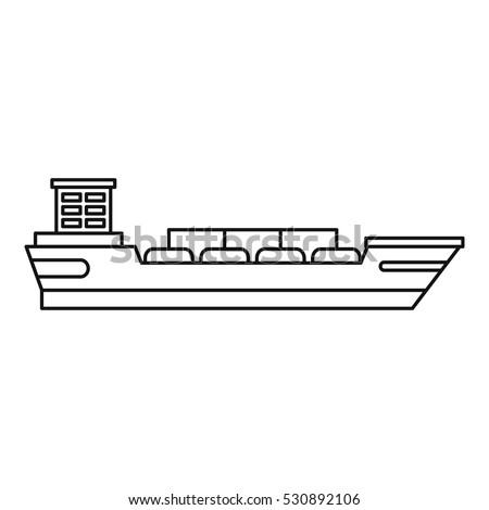 Cargo Ship Icon Outline Illustration Cargo Stock Vector ...