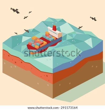 cargo ship in open sea. vector illustration - stock vector