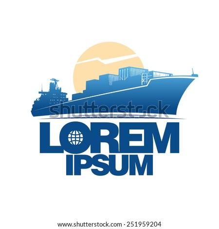 Cargo ship silhouette against sun logo concept - stock vector