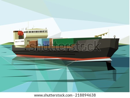Cargo ship vector illustration in flat design - stock vector