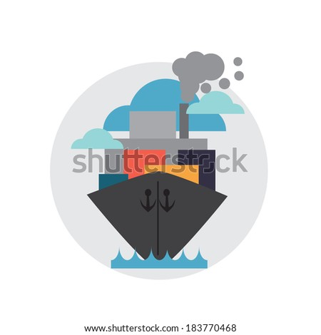 cargo ship with containers  - stock vector