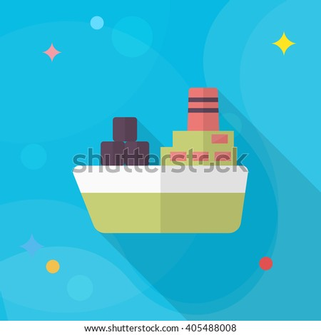 Cargo ships icon, Vector flat long shadow design. Transport concept. - stock vector