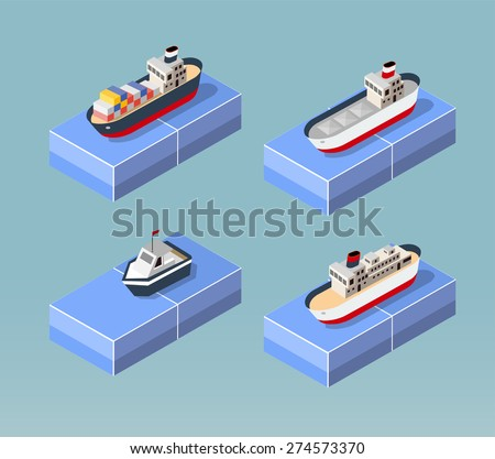 Cargo ships in perspective. Set design for the ships. - stock vector