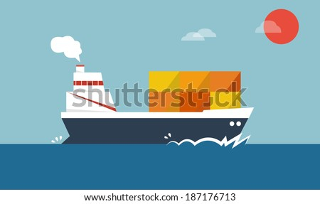cargo ships logistic over the see  vector art