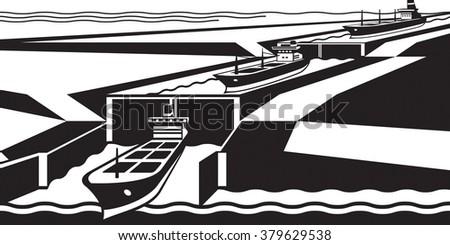 Cargo ships pass canal - vector illustration - stock vector