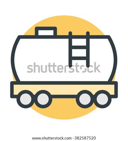 Cargo Train Colored Vector Icon  - stock vector