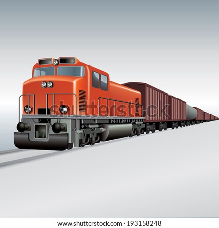 Cargo train on a rail road. Vector illustration