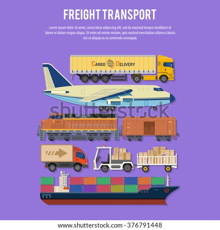Cargo Transport and Packaging in Flat style icons such as Truck, Plane, Train, Ship. Vector for Brochure, Web Site and Printing Advertising on theme delivery of goods. - stock vector