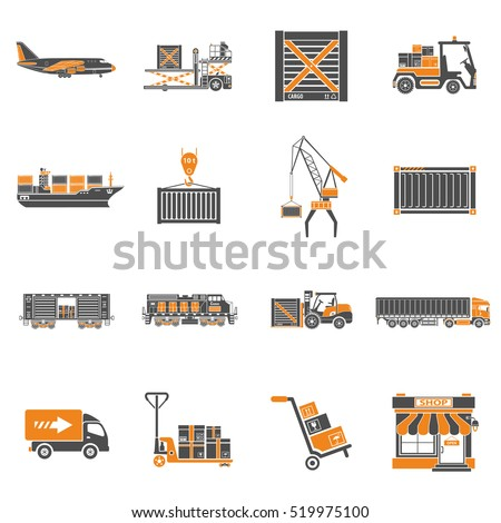 Cargo Transport, Packaging, shipping and logistics two color Icon Set such as Truck, air cargo, Train, Shipping isolated vector illustration