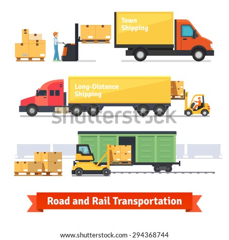 Cargo transportation by road and train. Workers loading and unloading trucks and rail car with forklifts. Flat style icons and illustration. - stock vector
