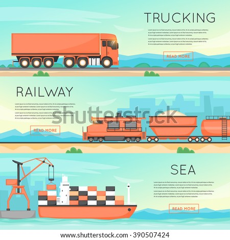 Cargo transportation by road, train, and ship. Logistic concept, cargo transportation, freight. Flat vector web banners. - stock vector