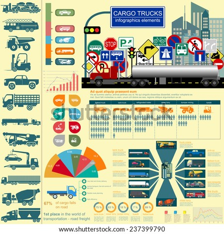 Cargo transportation infographics, trucks, lorry. Elements infographics.  Vector illustration - stock vector