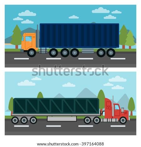 Cargo Transportation. Truck and Trailer. Delivery Trucks. Logistics Transportation. Mode of Transportation. Cargo Truck. Vector illustration. Flat style - stock vector