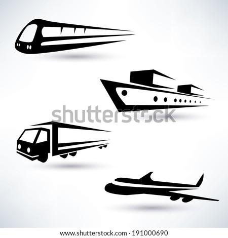 cargo transportation vector icons set, logistics concept - stock vector