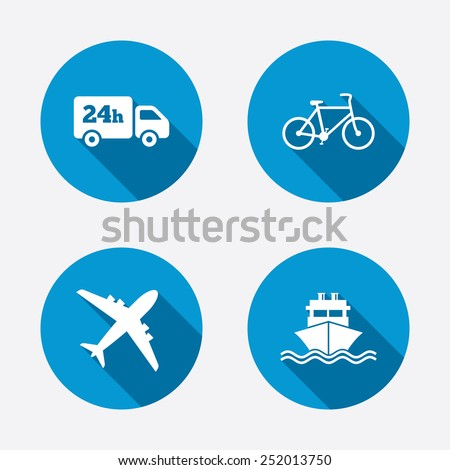 Cargo truck and shipping icons. Shipping and eco bicycle delivery signs. Transport symbols. 24h service. Circle concept web buttons. Vector - stock vector