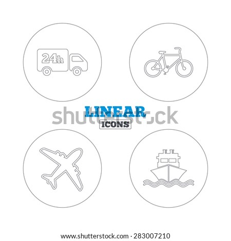 Cargo truck and shipping icons. Shipping and eco bicycle delivery signs. Transport symbols. 24h service. Linear outline web icons. Vector - stock vector
