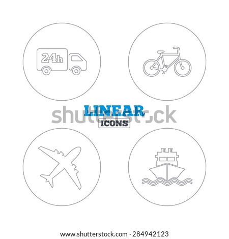 Cargo truck and shipping icons. Shipping and eco bicycle delivery signs. Transport symbols. 24h service. Linear outline web icons. Vector