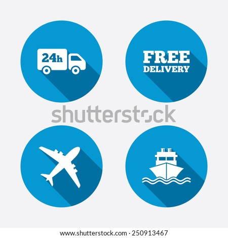 Cargo truck and shipping icons. Shipping and free delivery signs. Transport symbols. 24h service. Circle concept web buttons. Vector