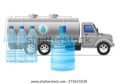 cargo truck delivery and transportation of purified drinking water concept vector illustration isolated on white background - stock vector