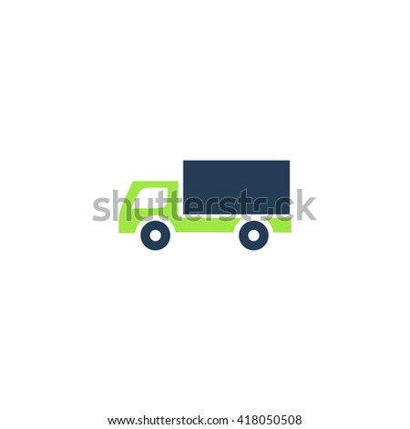 Cargo truck Simple flat vector icon - stock vector