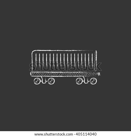 Cargo wagon. Drawn in chalk icon. - stock vector