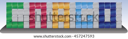 Cargo word by cargo containers with blue sky background