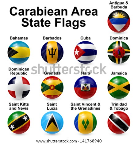Caribbean area state flags - stock vector