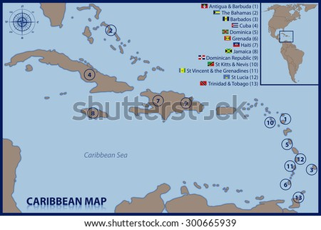 Caribbean Map Flags Location Stock Vector 300665939 Shutterstock