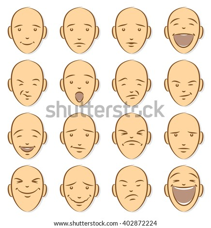 Caricature Emoticons Colored on White. Unique, Sixteen pieces set.