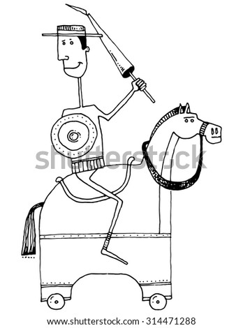 caricature guy as a soldier with shield and lance on a wooden horse - stock vector