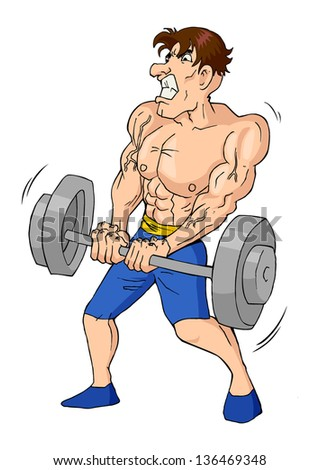 Caricature of a muscular male figure doing weightlifting - stock vector