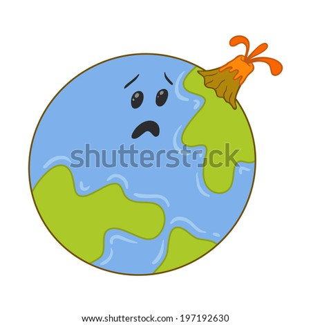caricature of a volcanic eruption on the planet earth - stock vector