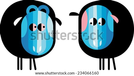 Caricature of love couple sheep and ram - stock vector