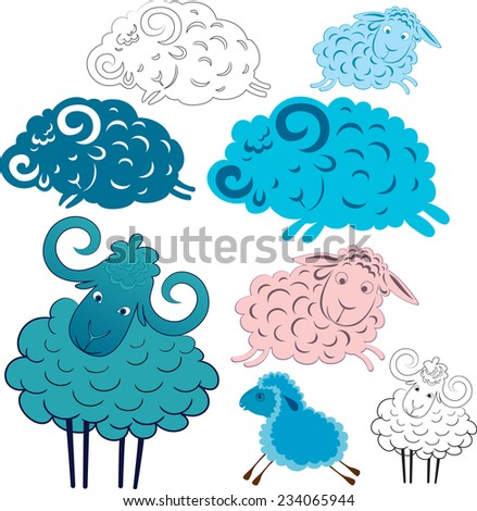 Caricature of traveling and sleeping sheep ram. Option Line and the option the silhouette. - stock vector