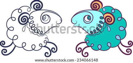 Caricature running ram. Option in color and line option. - stock vector