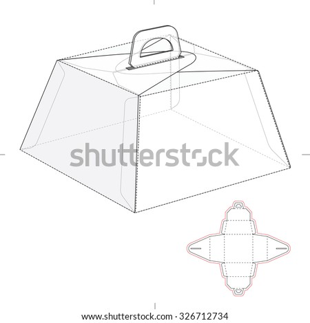 Caring Birthday Cake Box with Die Line Template - stock vector