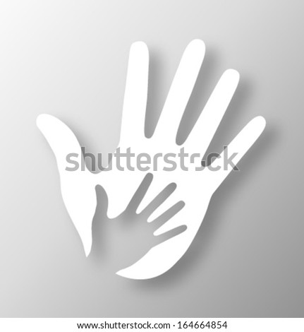 Caring hand applique, vector illustration - stock vector