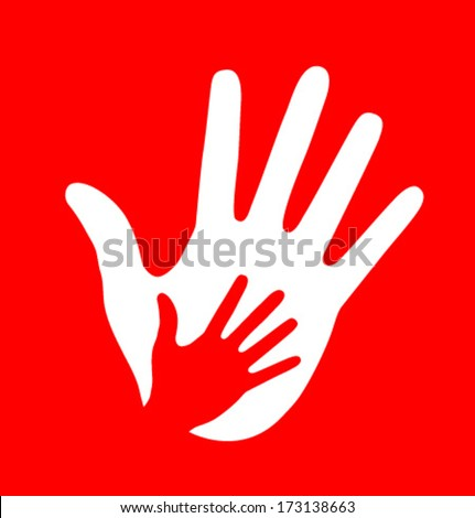 Caring hand on red background, vector illustration