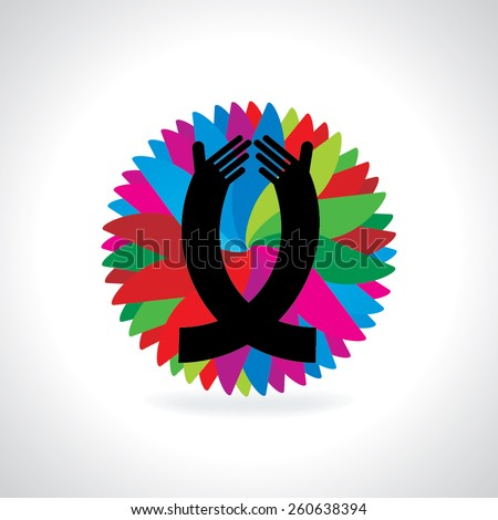 caring hand over colorful background  - stock vector