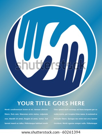 Caring hands design with copy space. - stock vector